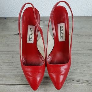 Nordstrom red leather sling back heels